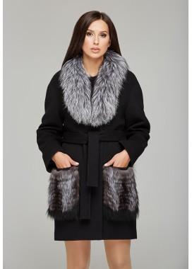Пальто зимнее черное 313