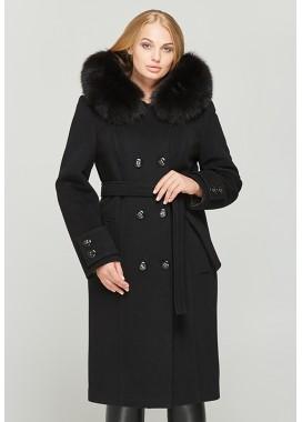 Пальто зимнее c капюшоном черное 579