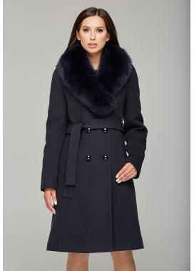 Пальто зимнее синее 091