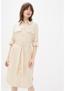 Платье-рубашка бежевое DANNA 1079