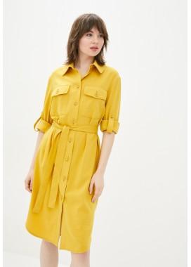 Платье-рубашка желтое DANNA 1079