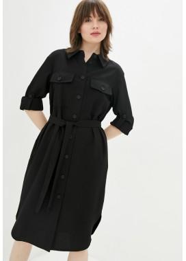 Платье-рубашка черное DANNA 1079